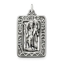 Brushed Saint Christopher Medal Sterling Silver Antiqued MPN: QC8377, UPC: 191101454738