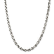 28 Inch 7mm Diamond-cut Polished 8 Sides Rope Chain Sterling Silver MPN: QDC140-28