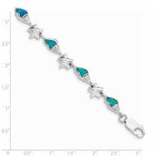 Starfish with CZ Diamond & Created Blue Opal Seashell Bracelet 7.25 Inch Sterling Silver Rhodium QG3987-7.25