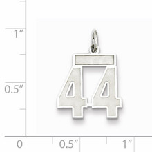 Charm Number 44 Satin Sterling Silver Small QPS44