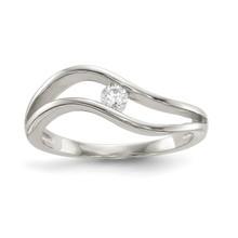 Wavy CZ Ring Sterling Silver Rhodium-plated MPN: QR6640