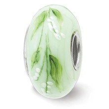 Lily of Valley May Fenton Glass Bead Sterling Silver Hand Painted MPN: QRS3913MAY UPC: 19727659231 by Reflection Beads