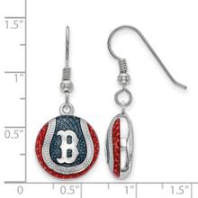 Boston Red Sox Enameled Baseball Dangle Earrings Sterling Silver SS521RSO