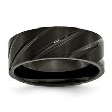 Swirl Design Black IP-plated 8mm Brushed Polished Band Titanium, MPN: TB350, UPC: 883957499017 by Chisel Jewelry
