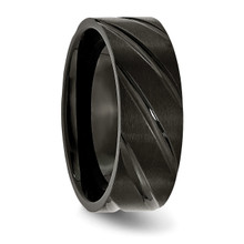 Swirl Design Black IP-plated 8mm Brushed Polished Band Titanium TB350