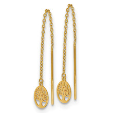 Tree of Life Threader Earrings 14k Gold Polished LE1501