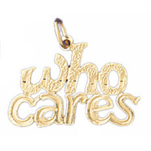 Who Cares Pendant Necklace Charm Bracelet in Gold or Silver MPN: DZ-10701 UPC: 673681051441