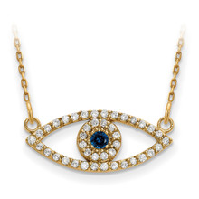 Small Diamond and Sapphire Evil Eye Necklace 14k Gold XP5044S/A UPC: 886774759623