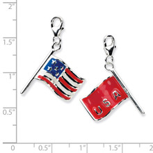 3-D Enameled American Flag Charm Sterling Silver QCC571