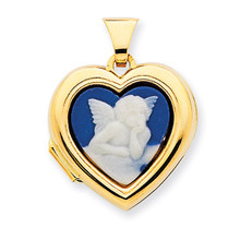 Heart-Shaped Angel Agate Cameo Inlay Locket 14k Gold Polished MPN: XL329 UPC: 883957278049