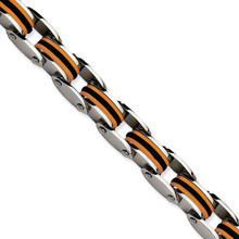 Chisel Black & Orange Polyurethane 8.75 Inch Bracelet - Stainless Steel SRB470