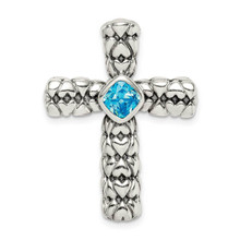 Sterling Silver CZ Diamond Blue Cross Chain Slide, MPN: QC9383, UPC: