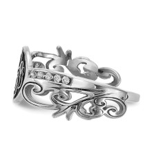 Monogram Diamond Ring with Antiquing 14k White Gold XNR94W