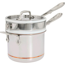All Clad Copper Core 2 Qt. Sauce Pan with Porcelain Double Boiler & Lid