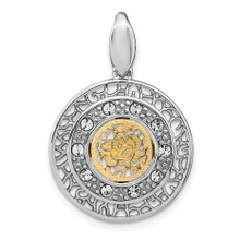 Leslie's Sterling Silver Rhodium-plated Gold-tone Crystal Pendant, MPN: QLF1204, UPC: