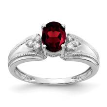 7x5mm Oval Garnet AA Diamond Ring 14k White Gold MPN: Y4450GA/AA UPC: 883957394541