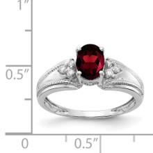 7x5mm Oval Garnet AA Diamond Ring 14k White Gold Y4450GA/AA