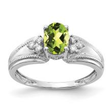 7x5mm Oval Peridot AAA Diamond Ring 14k White Gold MPN: Y4450PE/AAA UPC: 883957394930