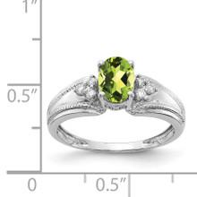 7x5mm Oval Peridot AAA Diamond Ring 14k White Gold Y4450PE/AAA
