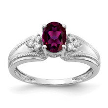 7x5mm Oval Rhodolite Garnet AA Diamond Ring 14k White Gold MPN: Y4450RG/AA UPC: 883957395388