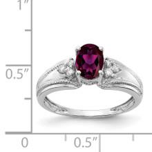 7x5mm Oval Rhodolite Garnet AA Diamond Ring 14k White Gold Y4450RG/AA