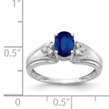 7x5mm Oval Sapphire AA Diamond Ring 14k White Gold Y4450S/AA