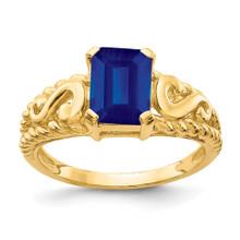 8x6mm Emerald Cut Sapphire Ring 14k Gold MPN: Y4677S UPC: 883957585567