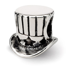Uncle Sam Tophat Bead - Sterling Silver QRS1075