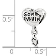 Gone Fishin Dangle Bead - Sterling Silver QRS3396