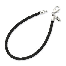 7.75 Inch Black Leather Bead Bracelet - Sterling Silver QRS983-7.75