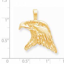Solid Diamond-cut Eagle Head Charm 10k Gold 10C617