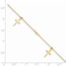 Cross with 1 Inch Extension Anklet 9 Inch 14k Gold Polished and Textured ANK267-9