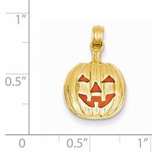Enameled Inside 3-D Cut-Out Pumpkin Pendant 14k Gold K1733