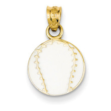 Enameled Baseball Pendant 14k Gold K2092