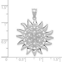 Filigree Sun Pendant 14k White Gold K4815