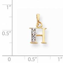 Polished .01ct Diamond Initial H Charm 14K Gold & Rhodium YC250H