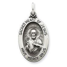 Sacred Heart of Jesus Medal Antiqued Sterling Silver MPN: QC3456