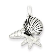 Antiqued Laser Cut Satin Seashells Pendant Sterling Silver Polished MPN: QC7647