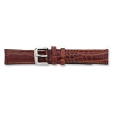 26mm Havana Crocodile Chrono Watch Band 7.5 Inch Silver-tone Buckle BA104-26