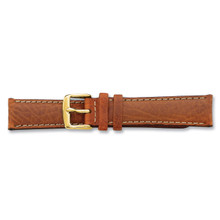17mm Havana Leather White Stitch Buckle Watch Band 7.5 Inch Gold-tone BAY97-17