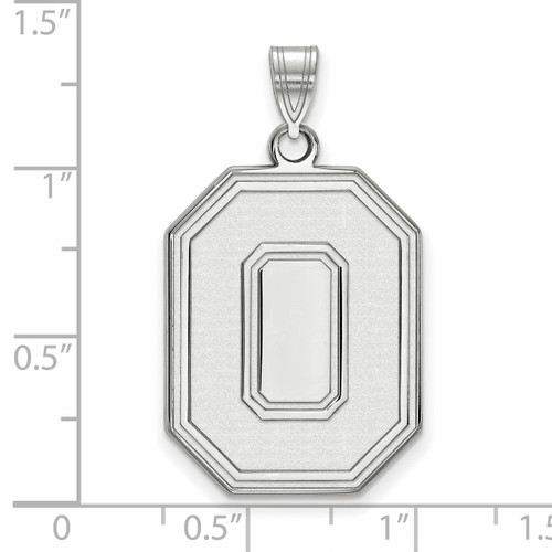925 Sterling Silver Rhodium-plated Laser-cut Ohio State University Large Pendant