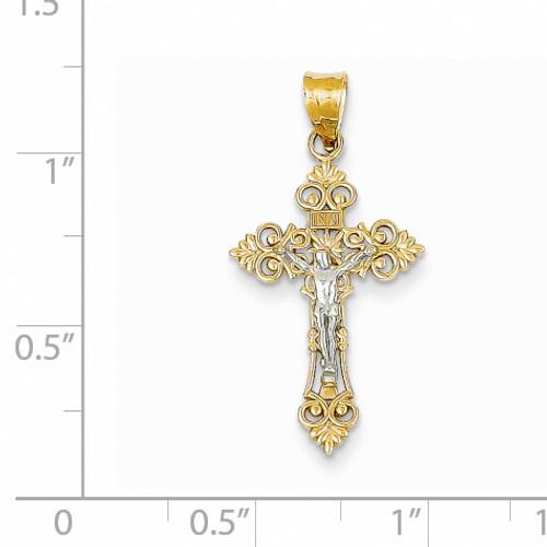 14k Yellow Gold Two-tone Medium Lacey-edged INRI Crucifix Pendant