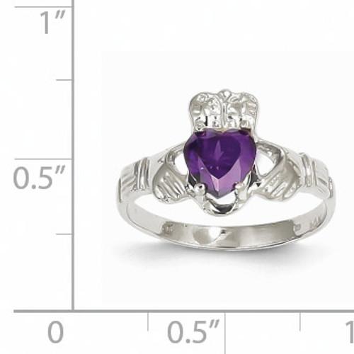 February Birthstone Claddagh Ring 14k White Gold R500