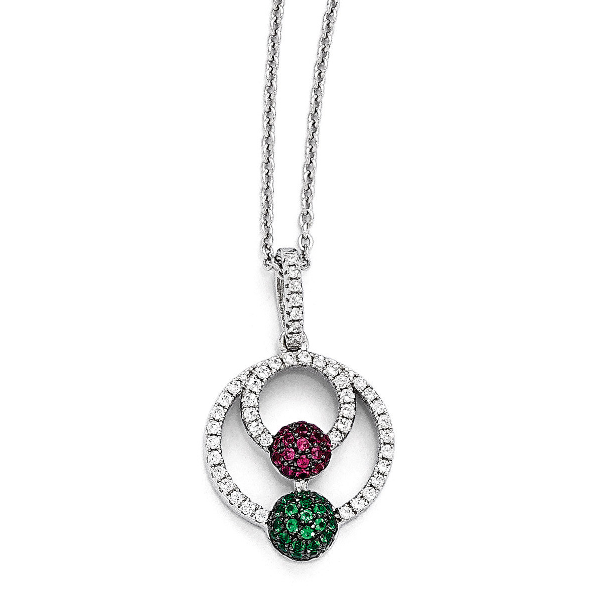 2 Extender Brilliant Embers Sterling Silver Rhodium-plated Polished CZ Skull Pendant Necklace 18