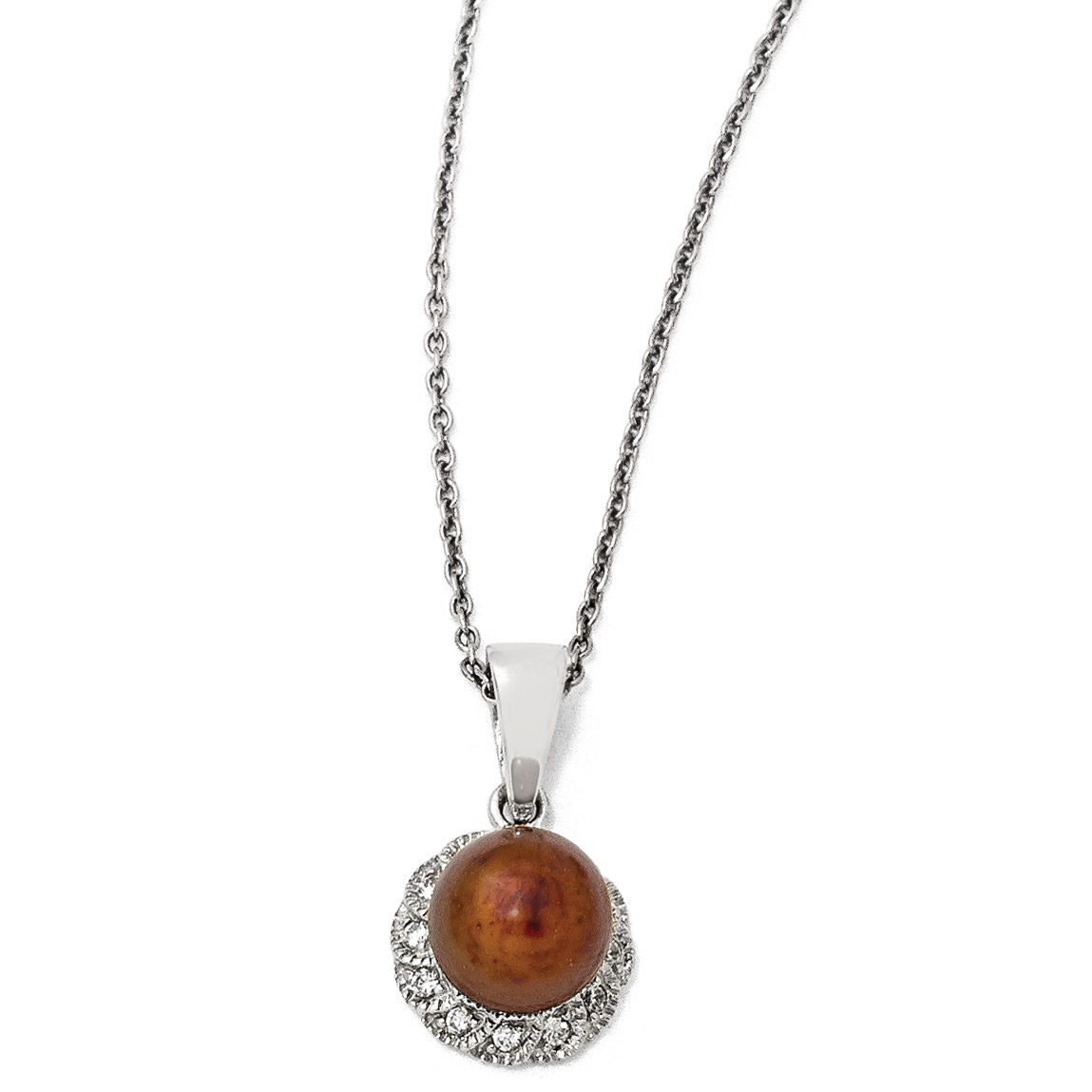 Cheryl M Sterling Silver CZ /& White Freshwater Cultured Pearl Pendant Necklace 18