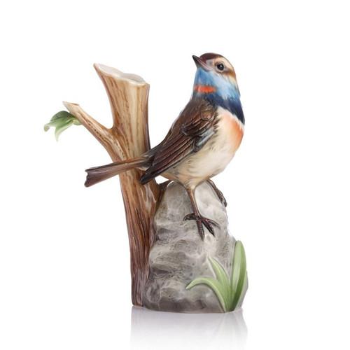 Franz Porcelain A True Braver Blue Throat Bird Small Vase