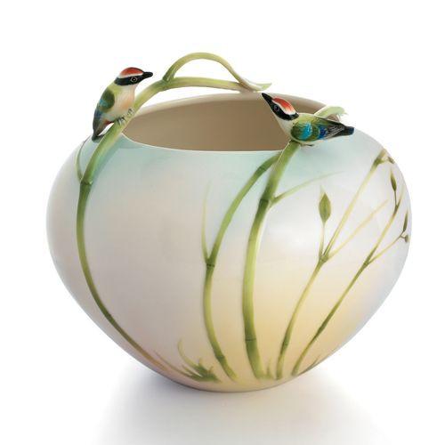Franz Porcelain Bamboo Song Bird Round Vase Fz00574 Upc