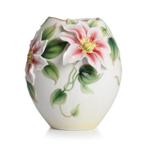 Franz Porcelain Clematis Flower Design Sculptured Porcelain Small Vase  FZ02295