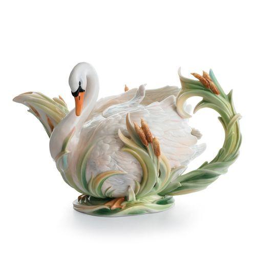 Franz Porcelain Swan Lake Teapot Fz01550 Upc 837009009303