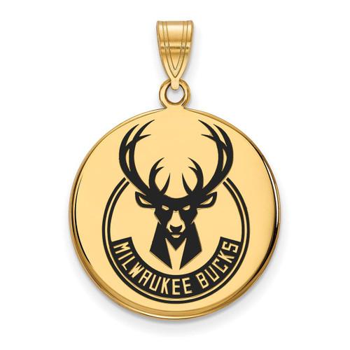 Milwaukee Bucks Large Enamel Disc Pendant Gold-plated